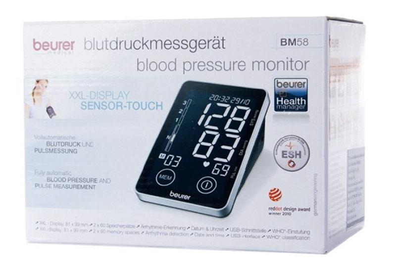 Máy đo huyết áp chính xác nhất Beurer BM58 là dòng máy đo huyết áp dễ sử dụng, hiện đại, có thể kết nối kết quả đo vào máy tính