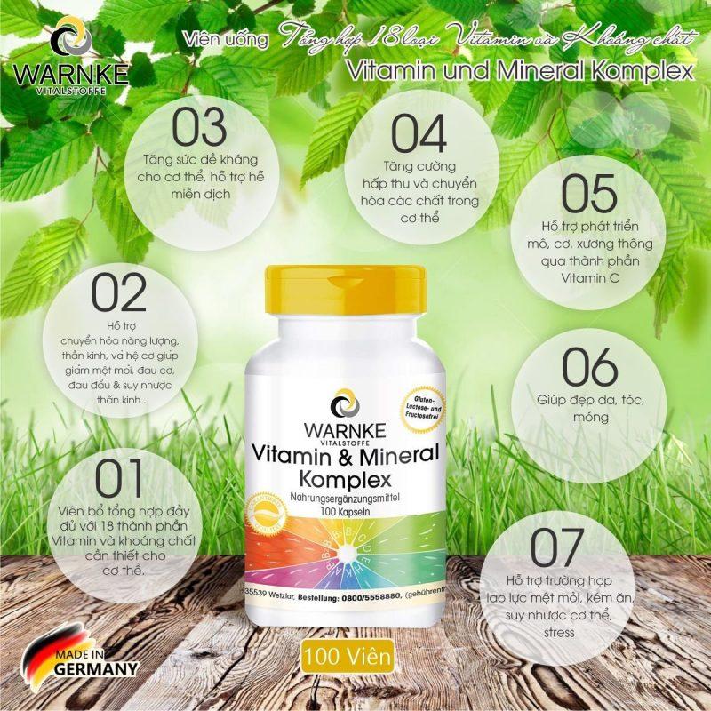 Warnke Vitamin Und Mineral complex bổ sung nhiều vitamin tổng hợp.