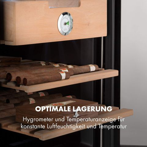 Tủ bảo quản Cigar Klarstein giúp giữ vẹn nguyên hương vị cigar thơm ngon.