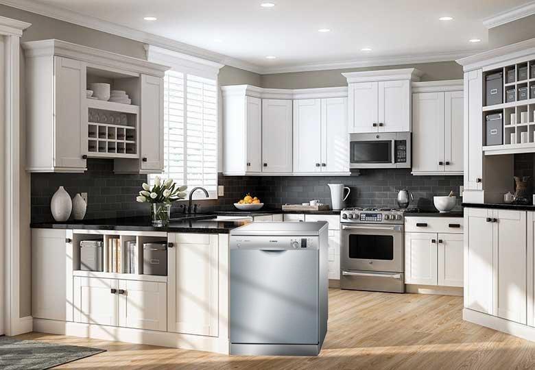 Máy rửa bát Bosch tô điểm cho nội thất không gian bếp.