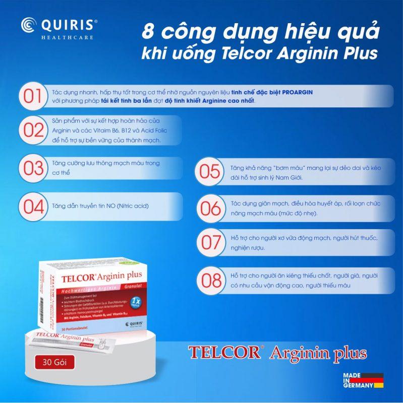 Quiris Telcor Arginin Plus có rất nhiều công dụng tốt.