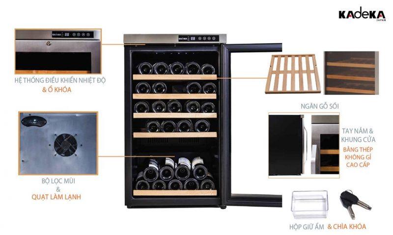 Tủ đựng rượu vang Kadeka KA39WRđược thiết kế tinh gọn và dễ sử dụng với hệ thống bảng điều kiển nằm bên ngoài.