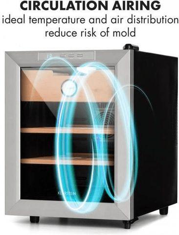 Tủ bảo quản Cigar Klarstein lưu thông không khí, ngăn ngừa ẩm mốc tối đa.