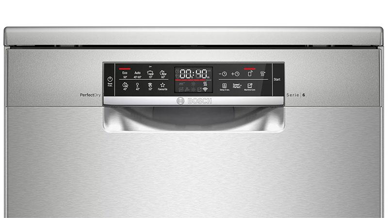 Máy rửa bát Bosch SMS6ZCI49E Serie 6 có bảng điều khiển trực quan, rất dễ làm chủ