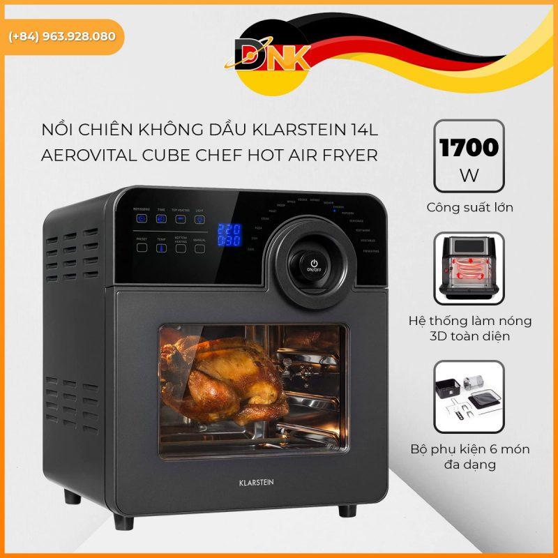 Nồi Chiên Không Dầu Klarstein 14L AeroVital Cube Chef Hot Air Fryer
